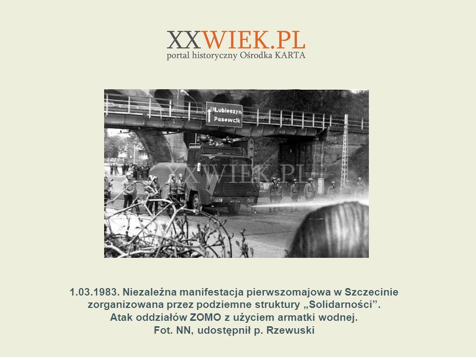 1.03.1983. Niezależna manifestacja pierwszomajowa w Szczecinie zorganizowana przez podziemne struktury Solidarności. Atak oddziałów ZOMO z użyciem arm