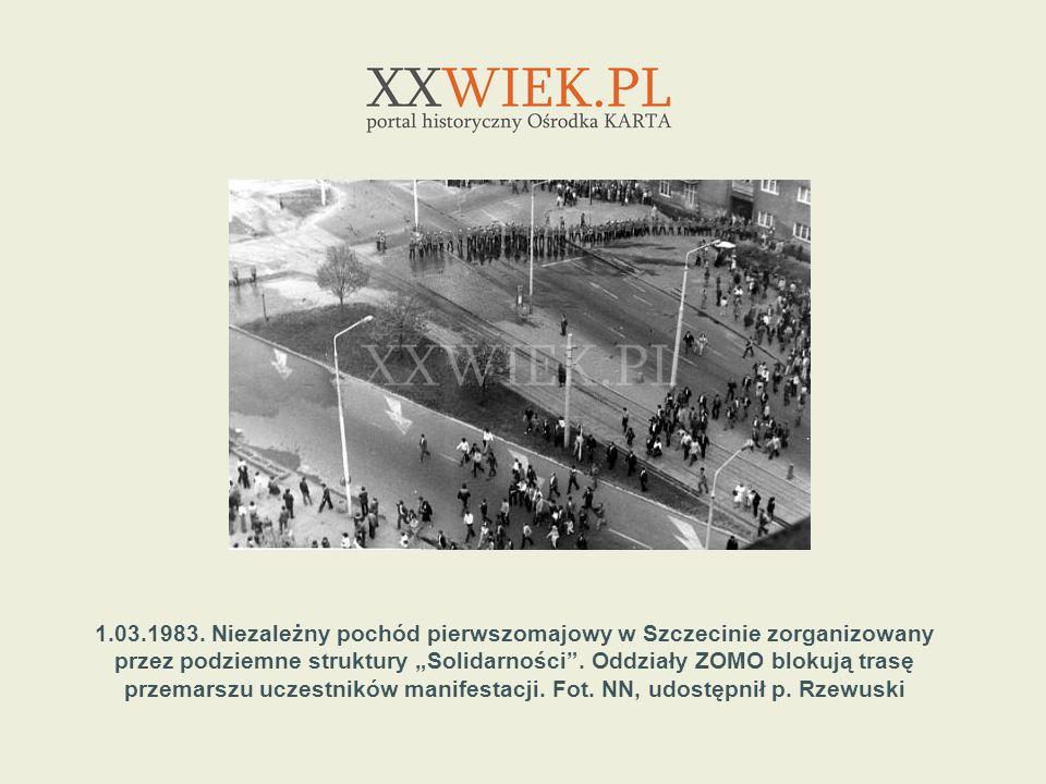 1.03.1983. Niezależny pochód pierwszomajowy w Szczecinie zorganizowany przez podziemne struktury Solidarności. Oddziały ZOMO blokują trasę przemarszu
