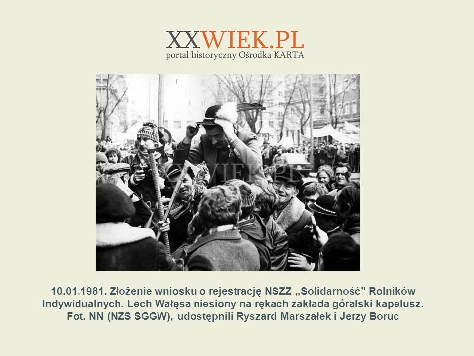 10.01.1981.Złożenie wniosku o rejestrację NSZZ Solidarność Rolników Indywidualnych.