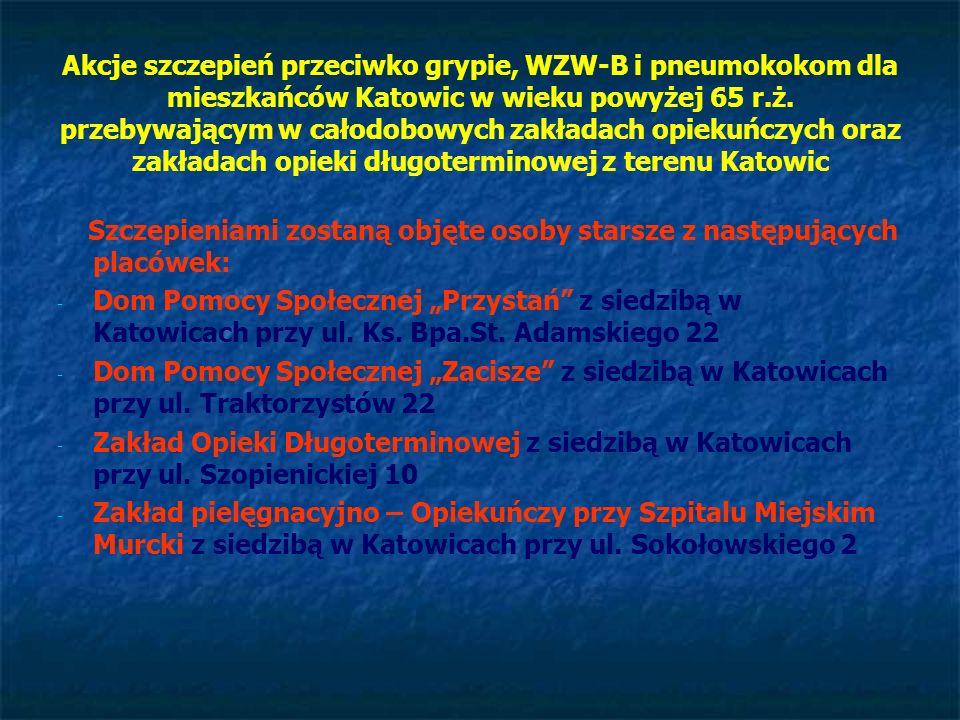 Akcje szczepień przeciwko grypie, WZW-B i pneumokokom dla mieszkańców Katowic w wieku powyżej 65 r.ż. przebywającym w całodobowych zakładach opiekuńcz
