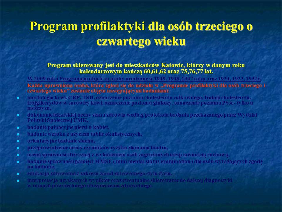 dla osób trzeciego o czwartego wieku Program profilaktyki dla osób trzeciego o czwartego wieku Program skierowany jest do mieszkańców Katowic, którzy