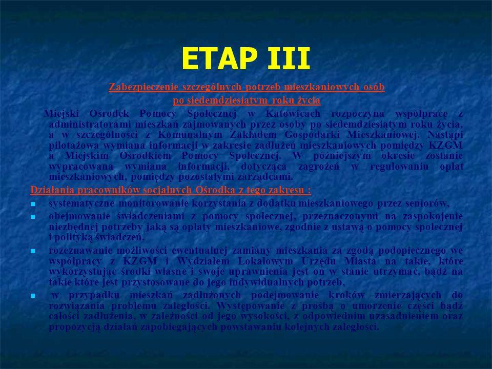 ETAP III Zabezpieczenie szczególnych potrzeb mieszkaniowych osób po siedemdziesiątym roku życia Miejski Ośrodek Pomocy Społecznej w Katowicach rozpocz