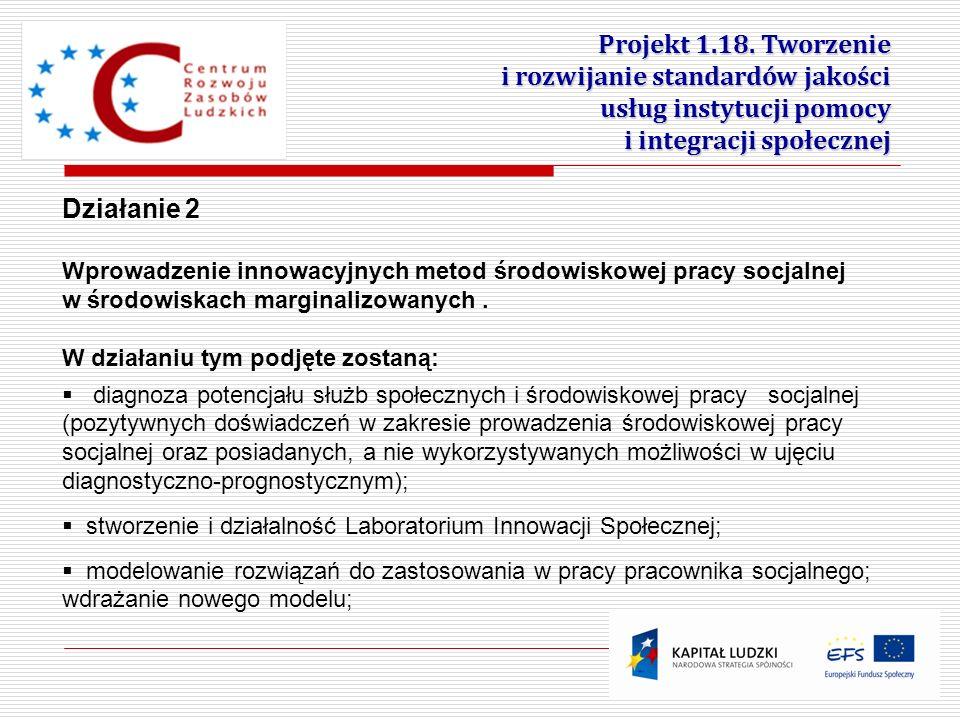 10 Projekt 1.18. Tworzenie i rozwijanie standardów jakości usług instytucji pomocy i integracji społecznej Działanie 2 Wprowadzenie innowacyjnych meto