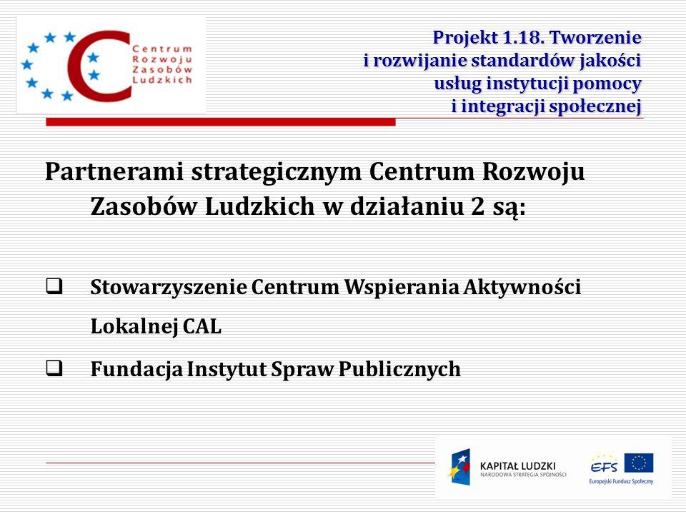 11 Partnerami strategicznym Centrum Rozwoju Zasobów Ludzkich w działaniu 2 są: Stowarzyszenie Centrum Wspierania Aktywności Lokalnej CAL Fundacja Inst