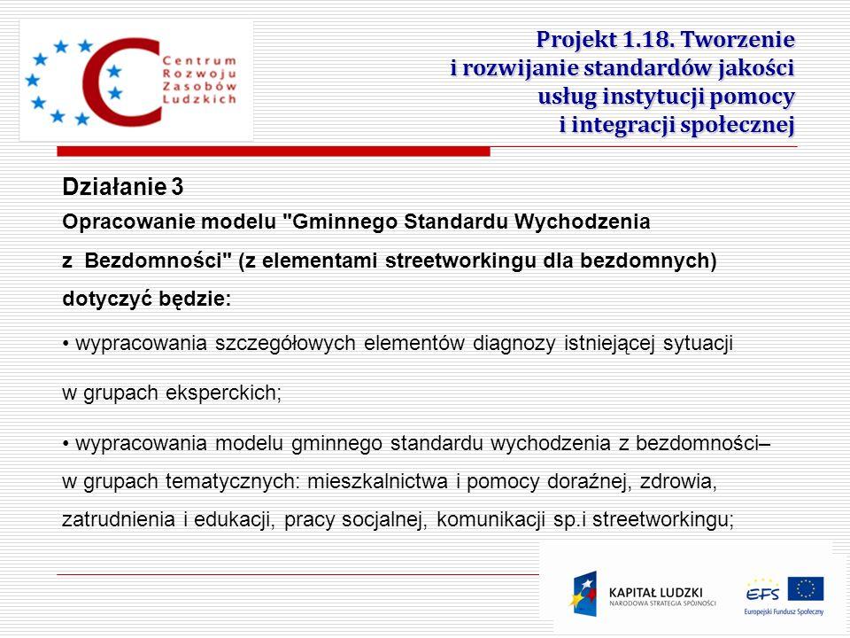 12 Projekt 1.18. Tworzenie i rozwijanie standardów jakości usług instytucji pomocy i integracji społecznej Działanie 3 Opracowanie modelu
