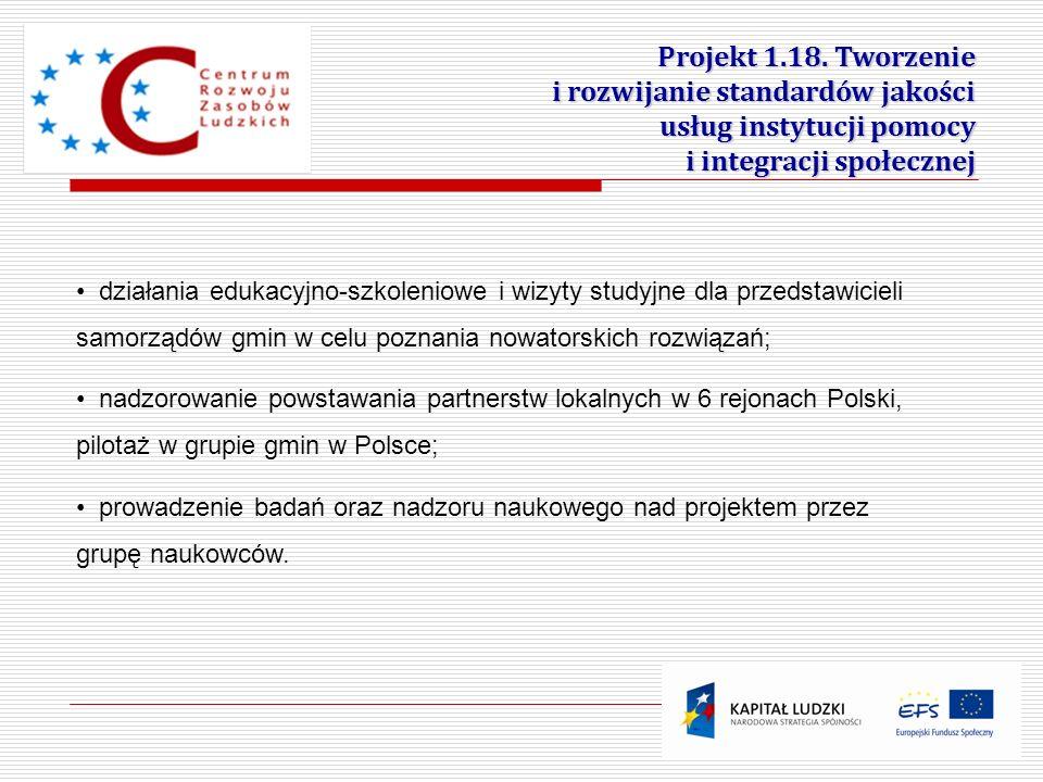 13 Projekt 1.18. Tworzenie i rozwijanie standardów jakości usług instytucji pomocy i integracji społecznej działania edukacyjno-szkoleniowe i wizyty s