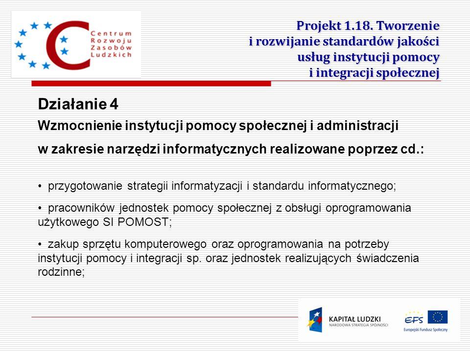 17 przygotowanie strategii informatyzacji i standardu informatycznego; pracowników jednostek pomocy społecznej z obsługi oprogramowania użytkowego SI
