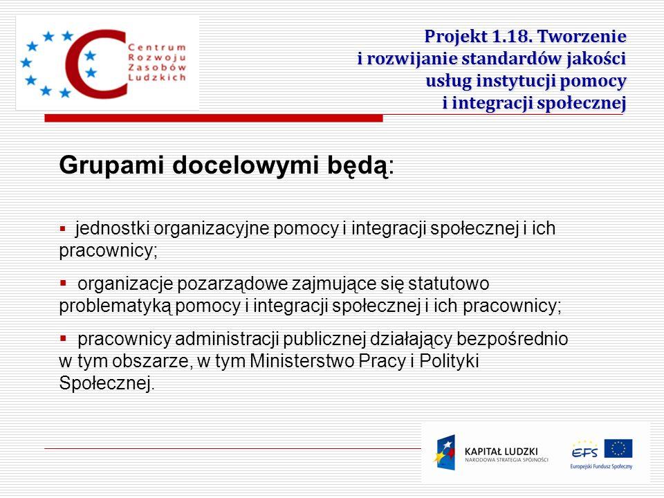 19 Grupami docelowymi będą: jednostki organizacyjne pomocy i integracji społecznej i ich pracownicy; organizacje pozarządowe zajmujące się statutowo p