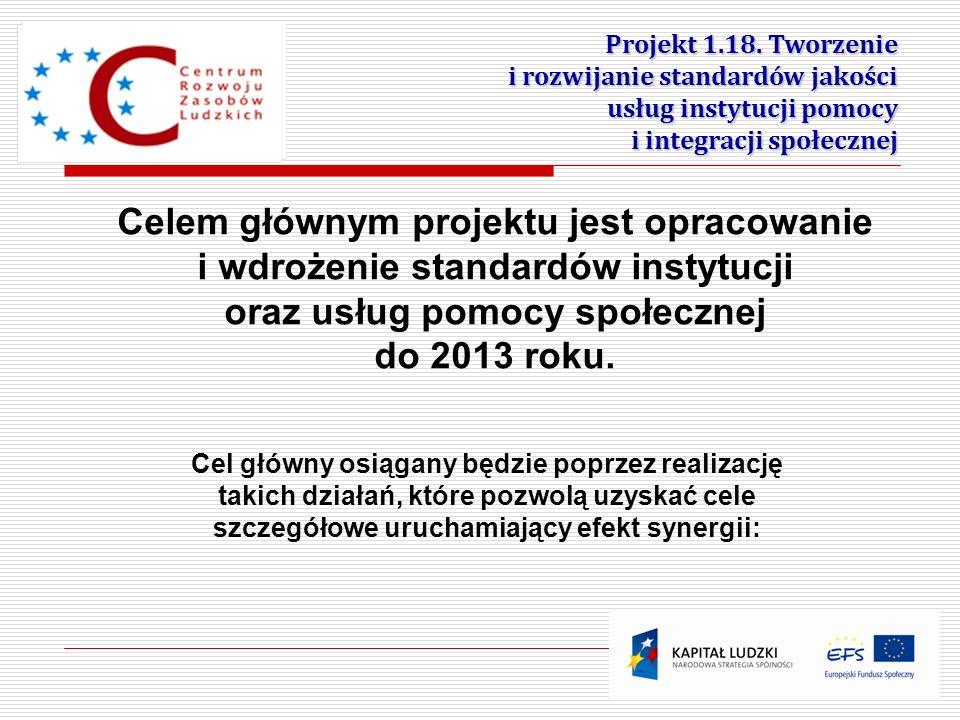2 Projekt 1.18. Tworzenie i rozwijanie standardów jakości usług instytucji pomocy i integracji społecznej Celem głównym projektu jest opracowanie i wd