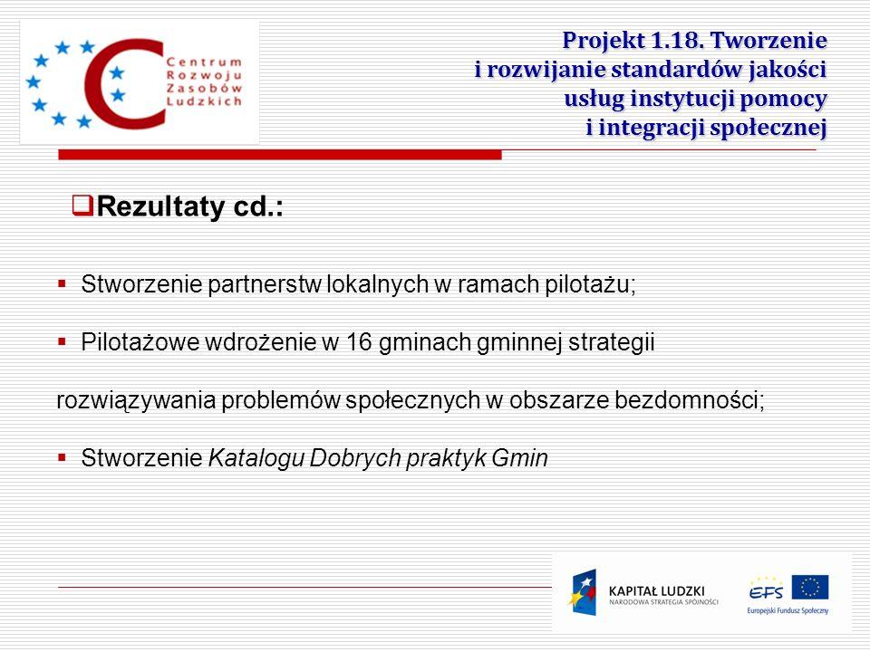 22 Projekt 1.18. Tworzenie i rozwijanie standardów jakości usług instytucji pomocy i integracji społecznej Stworzenie partnerstw lokalnych w ramach pi