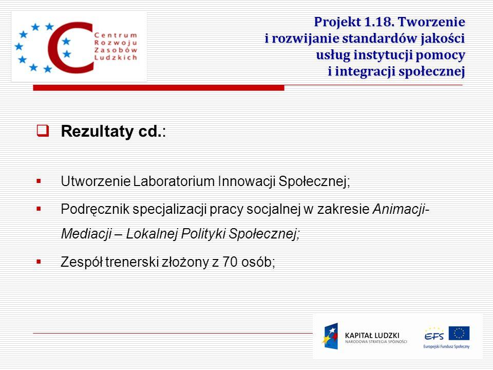 Projekt 1.18. Tworzenie i rozwijanie standardów jakości usług instytucji pomocy i integracji społecznej 23 Rezultaty cd.: Utworzenie Laboratorium Inno
