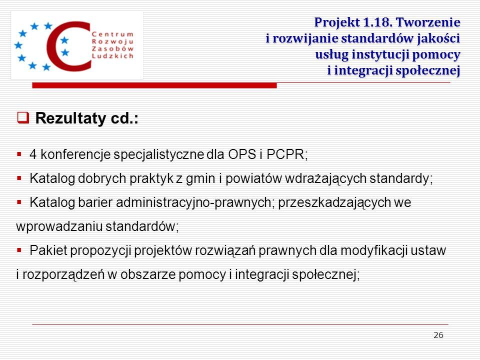 26 Projekt 1.18. Tworzenie i rozwijanie standardów jakości usług instytucji pomocy i integracji społecznej 4 konferencje specjalistyczne dla OPS i PCP