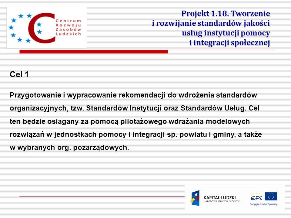 3 Projekt 1.18. Tworzenie i rozwijanie standardów jakości usług instytucji pomocy i integracji społecznej Cel 1 Przygotowanie i wypracowanie rekomenda