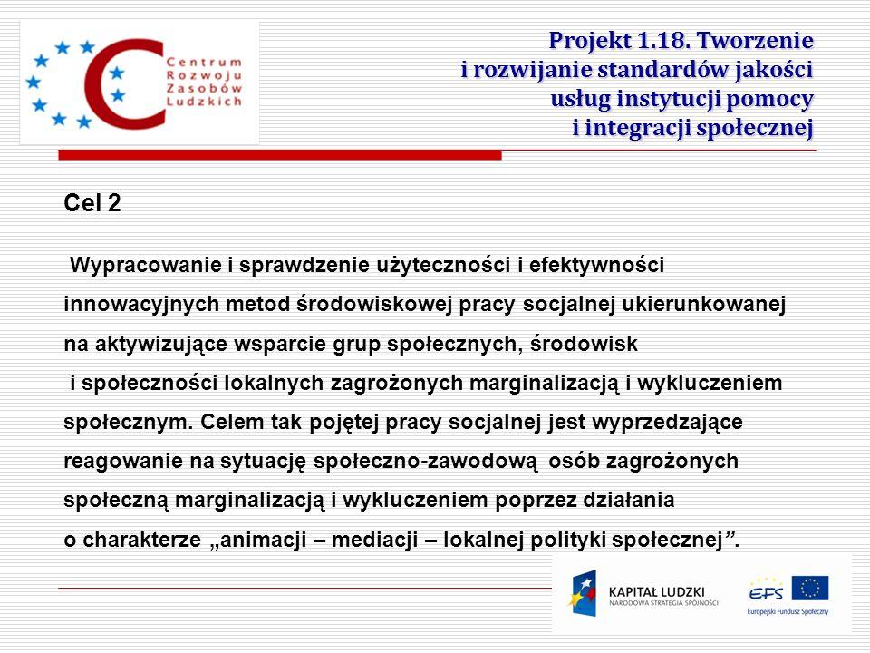 4 Projekt 1.18. Tworzenie i rozwijanie standardów jakości usług instytucji pomocy i integracji społecznej Cel 2 Wypracowanie i sprawdzenie użytecznośc