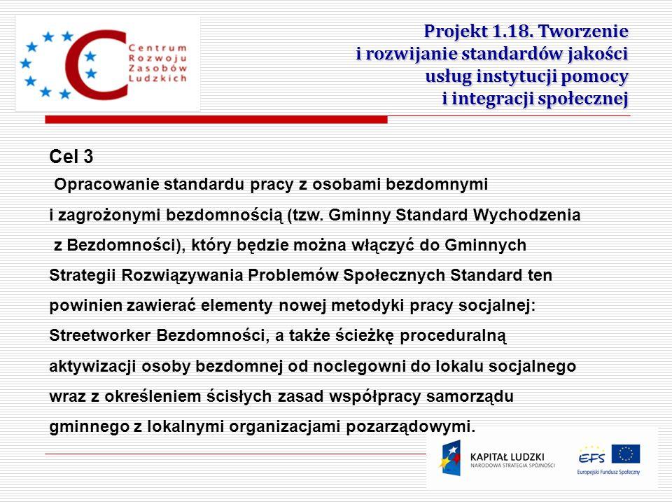 5 Projekt 1.18. Tworzenie i rozwijanie standardów jakości usług instytucji pomocy i integracji społecznej Cel 3 Opracowanie standardu pracy z osobami