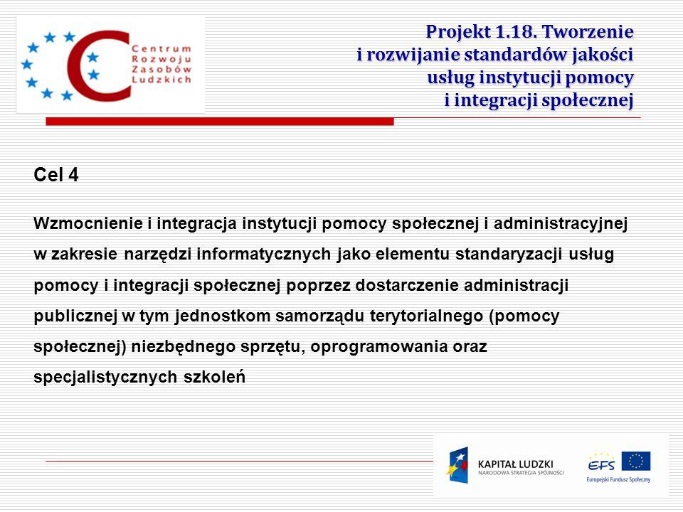 6 Projekt 1.18. Tworzenie i rozwijanie standardów jakości usług instytucji pomocy i integracji społecznej Cel 4 Wzmocnienie i integracja instytucji po