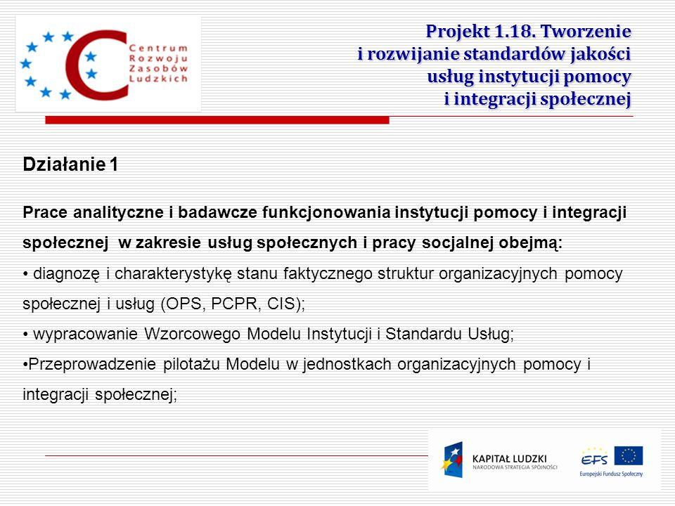 8 Działanie 1 Prace analityczne i badawcze funkcjonowania instytucji pomocy i integracji społecznej w zakresie usług społecznych i pracy socjalnej obe