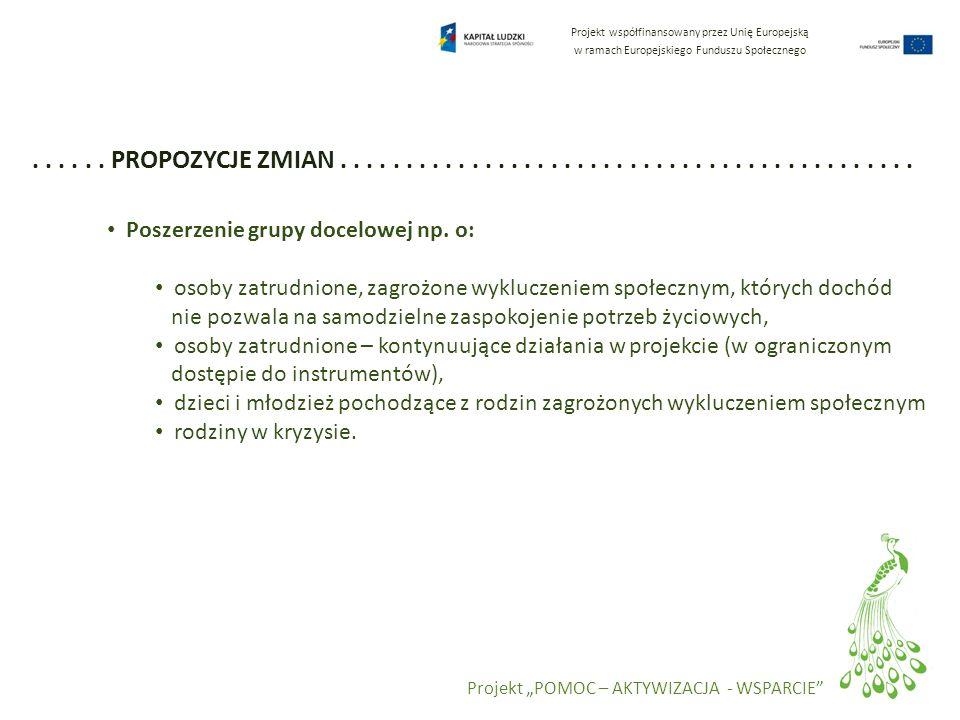 Projekt współfinansowany przez Unię Europejską w ramach Europejskiego Funduszu Społecznego Projekt POMOC – AKTYWIZACJA - WSPARCIE...... PROPOZYCJE ZMI