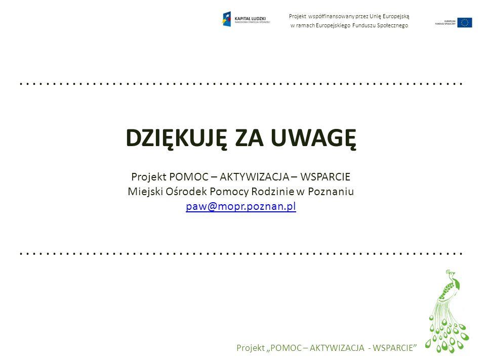 Projekt współfinansowany przez Unię Europejską w ramach Europejskiego Funduszu Społecznego Projekt POMOC – AKTYWIZACJA - WSPARCIE.....................