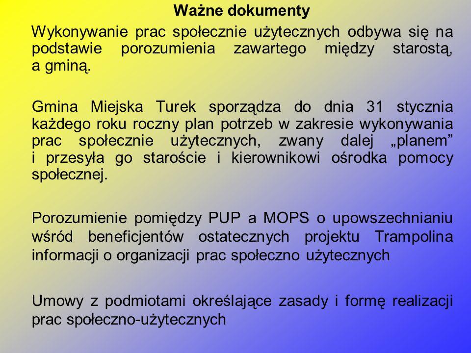 Ważne dokumenty Wykonywanie prac społecznie użytecznych odbywa się na podstawie porozumienia zawartego między starostą, a gminą.