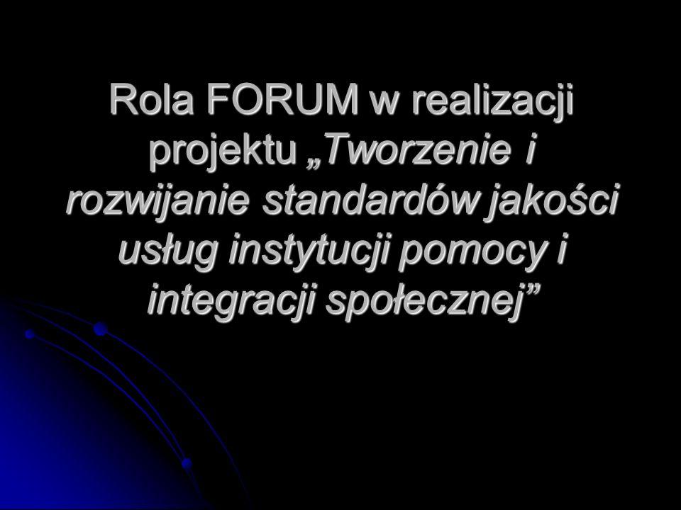 Rola FORUM w realizacji projektu Tworzenie i rozwijanie standardów jakości usług instytucji pomocy i integracji społecznej