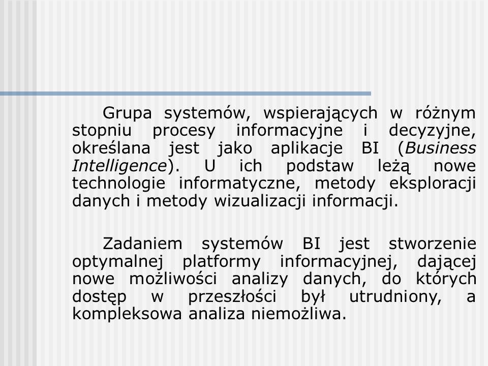 Grupa systemów, wspierających w różnym stopniu procesy informacyjne i decyzyjne, określana jest jako aplikacje BI (Business Intelligence).