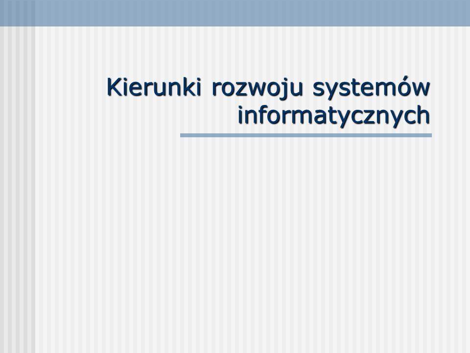 Podstawowe kierunki rozwoju SIZ procesy produkcyjne (metody: OPT, JiT, Kanban, TQM, CPM, systemy: Lean Manufacturing, AIM, PLM), * logistyka (SCM, DRP), * obsługa klienta (CRM), * przepływ informacji (EDI, e-commerce, m- commerce).