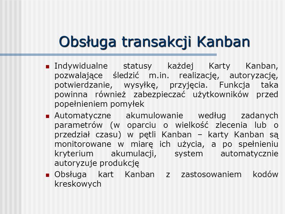 Obsługa transakcji Kanban Indywidualne statusy każdej Karty Kanban, pozwalające śledzić m.in. realizację, autoryzację, potwierdzanie, wysyłkę, przyjęc