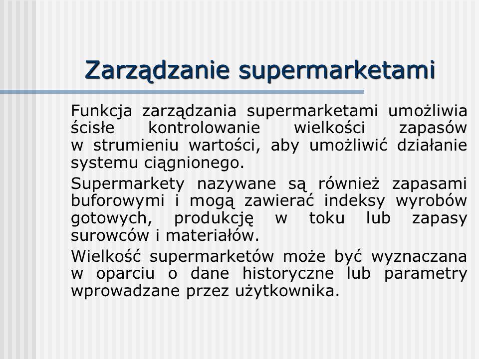 Zarządzanie supermarketami Funkcja zarządzania supermarketami umożliwia ścisłe kontrolowanie wielkości zapasów w strumieniu wartości, aby umożliwić dz