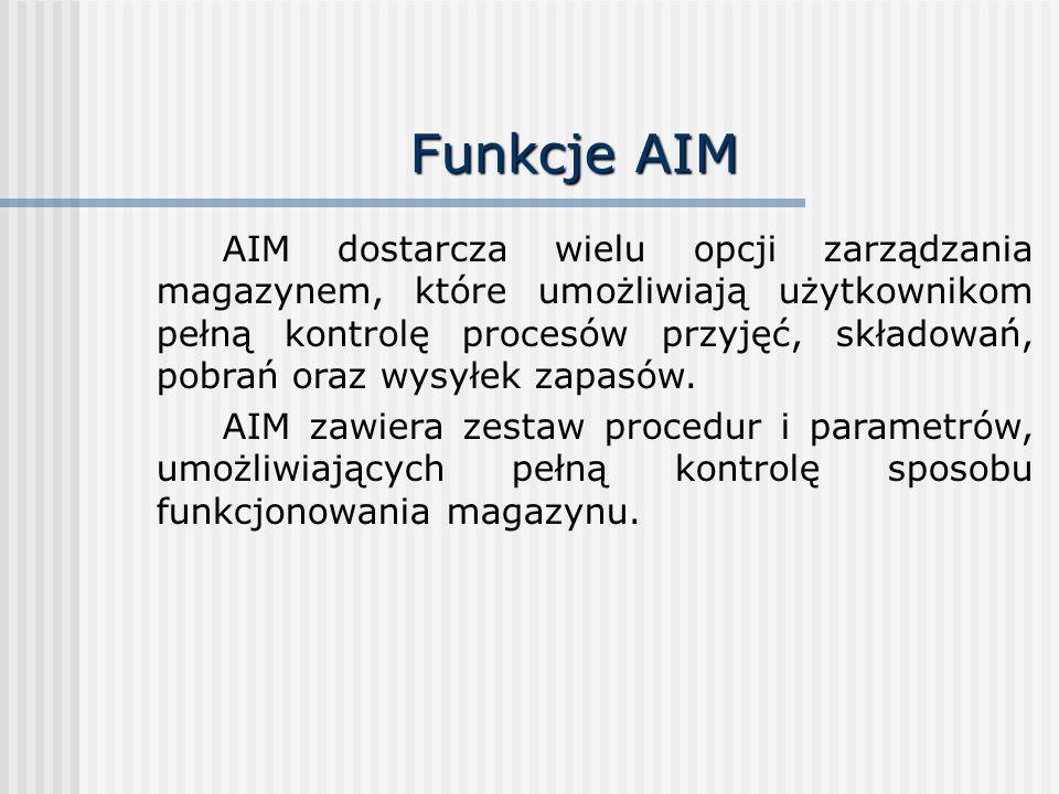 Funkcje AIM AIM dostarcza wielu opcji zarządzania magazynem, które umożliwiają użytkownikom pełną kontrolę procesów przyjęć, składowań, pobrań oraz wy