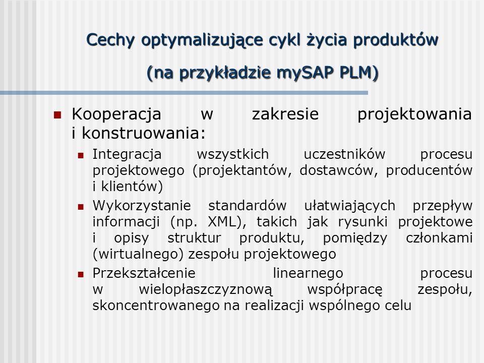 Cechy optymalizujące cykl życia produktów (na przykładzie mySAP PLM) Kooperacja w zakresie projektowania i konstruowania: Integracja wszystkich uczest