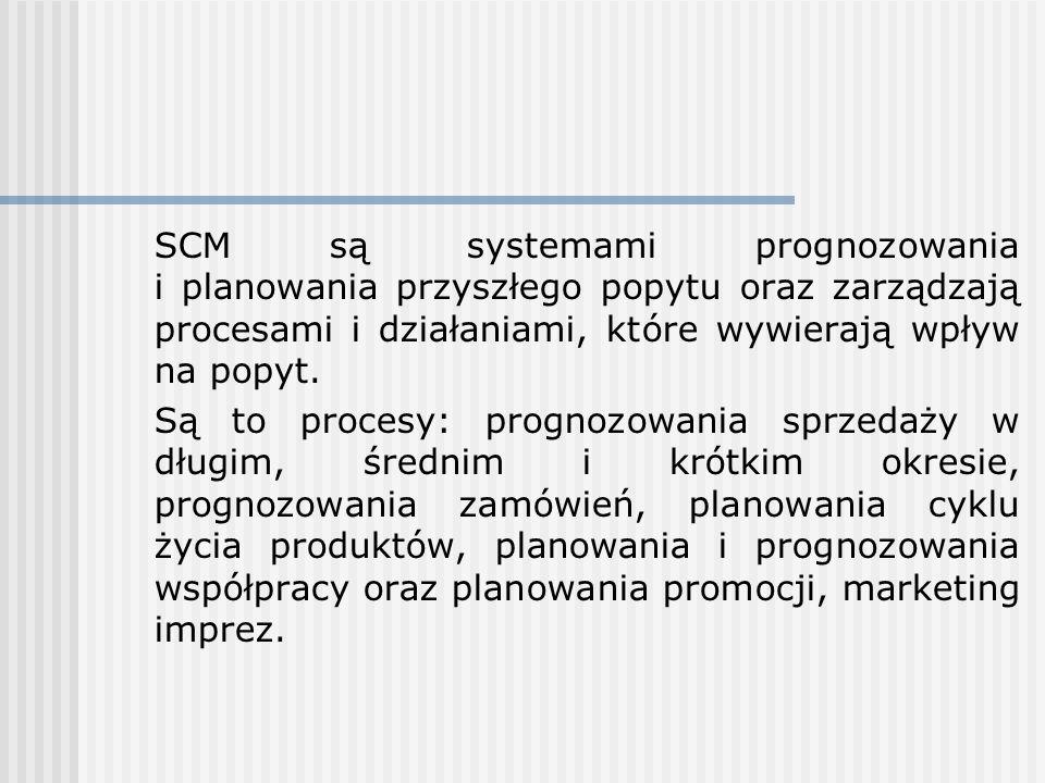 SCM są systemami prognozowania i planowania przyszłego popytu oraz zarządzają procesami i działaniami, które wywierają wpływ na popyt. Są to procesy: