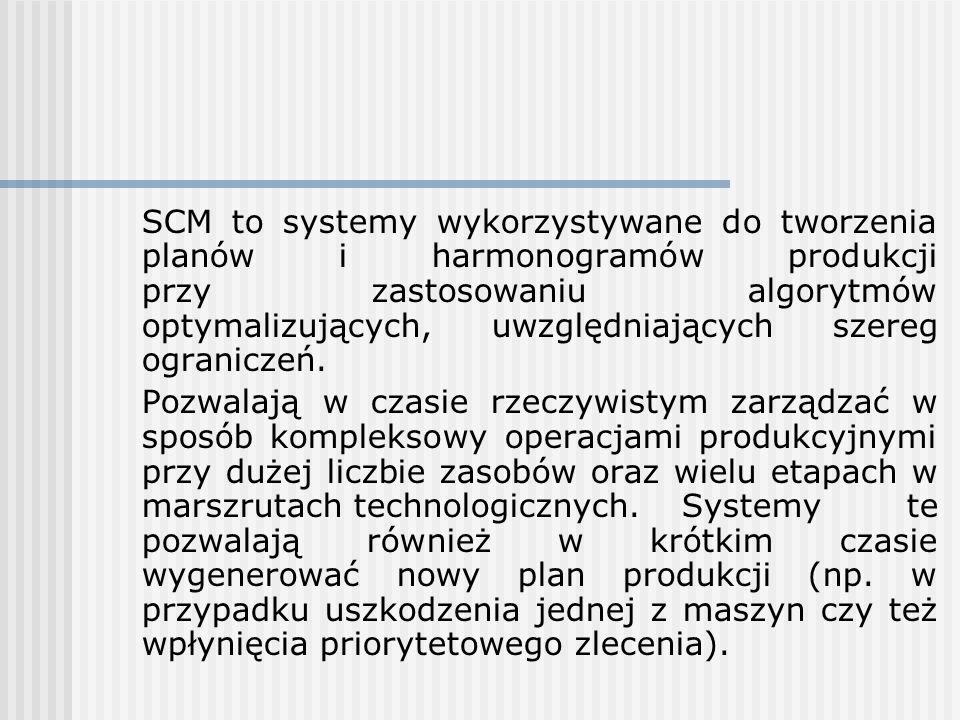 SCM to systemy wykorzystywane do tworzenia planów i harmonogramów produkcji przy zastosowaniu algorytmów optymalizujących, uwzględniających szereg ogr