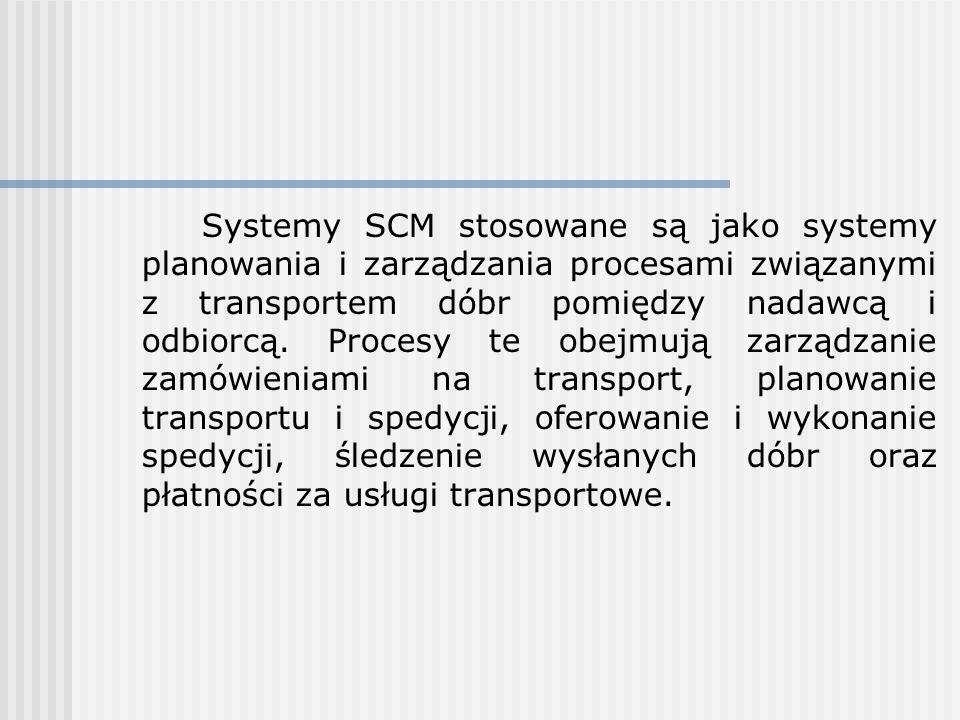 Systemy SCM stosowane są jako systemy planowania i zarządzania procesami związanymi z transportem dóbr pomiędzy nadawcą i odbiorcą. Procesy te obejmuj