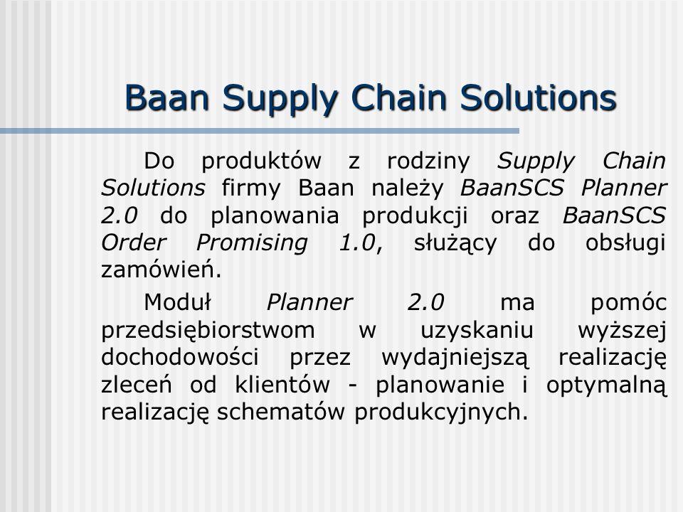 Baan Supply Chain Solutions Do produktów z rodziny Supply Chain Solutions firmy Baan należy BaanSCS Planner 2.0 do planowania produkcji oraz BaanSCS O