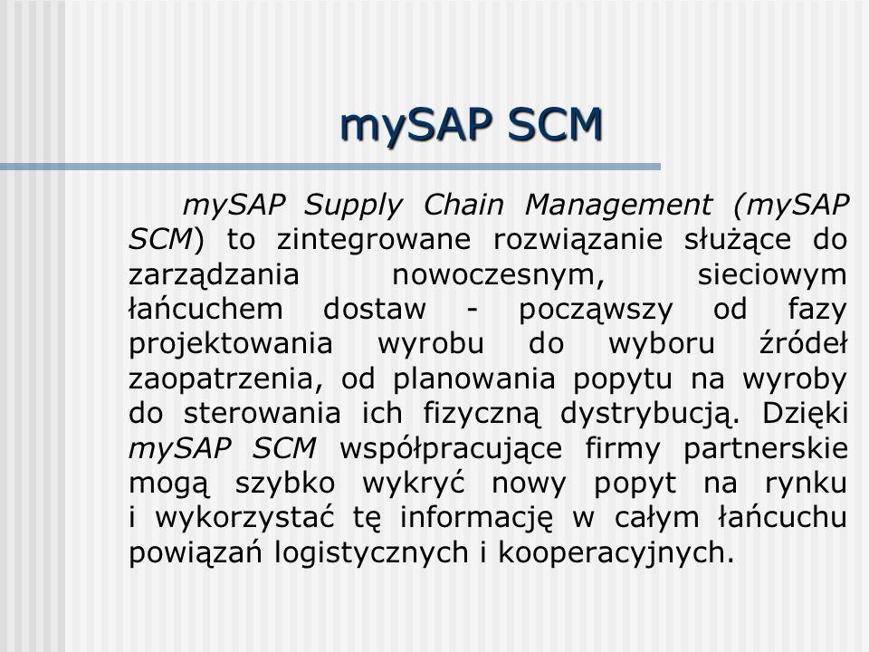mySAP SCM mySAP Supply Chain Management (mySAP SCM) to zintegrowane rozwiązanie służące do zarządzania nowoczesnym, sieciowym łańcuchem dostaw - począ