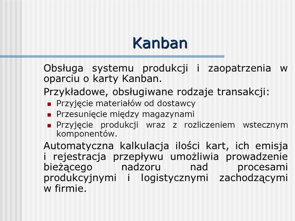 Kanban Obsługa systemu produkcji i zaopatrzenia w oparciu o karty Kanban. Przykładowe, obsługiwane rodzaje transakcji: Przyjęcie materiałów od dostawc