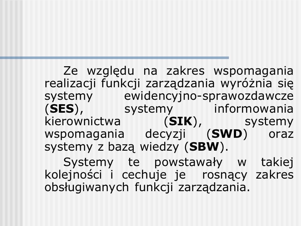 Ze względu na zakres wspomagania realizacji funkcji zarządzania wyróżnia się systemy ewidencyjno-sprawozdawcze (SES), systemy informowania kierownictw