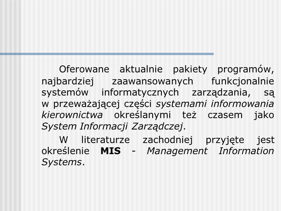 Oferowane aktualnie pakiety programów, najbardziej zaawansowanych funkcjonalnie systemów informatycznych zarządzania, są w przeważającej części system