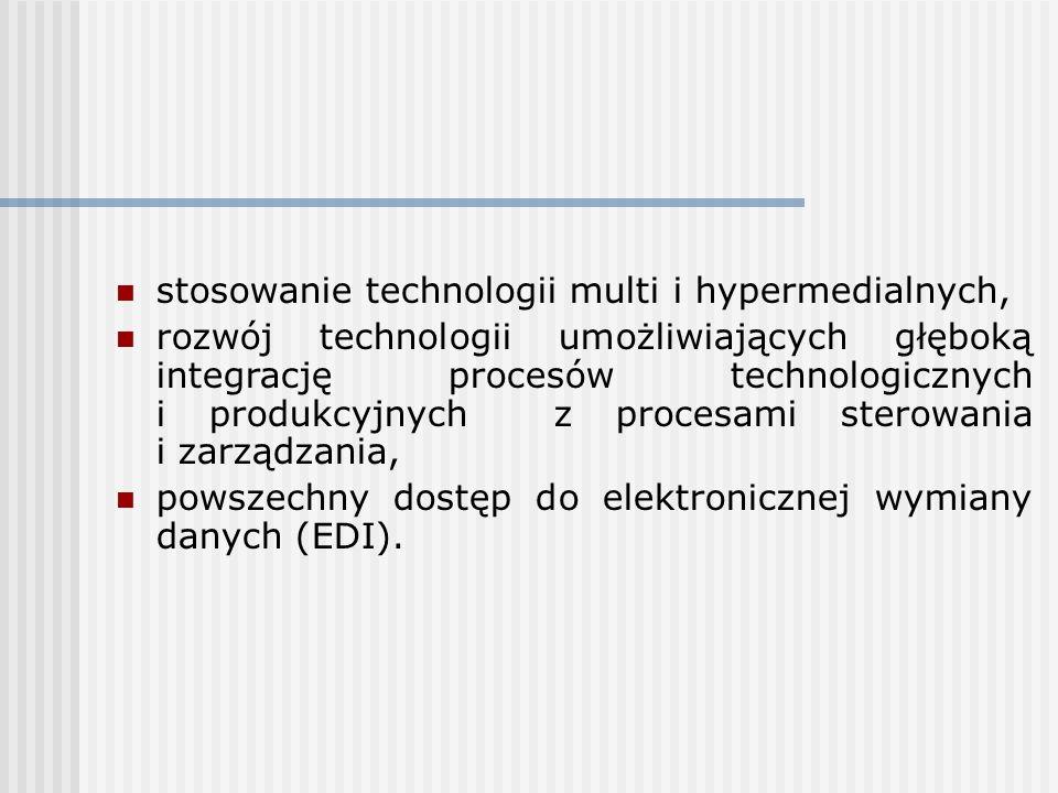 stosowanie technologii multi i hypermedialnych, rozwój technologii umożliwiających głęboką integrację procesów technologicznych i produkcyjnych z proc