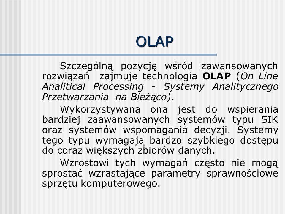 OLAP Szczególną pozycję wśród zawansowanych rozwiązań zajmuje technologia OLAP (On Line Analitical Processing - Systemy Analitycznego Przetwarzania na