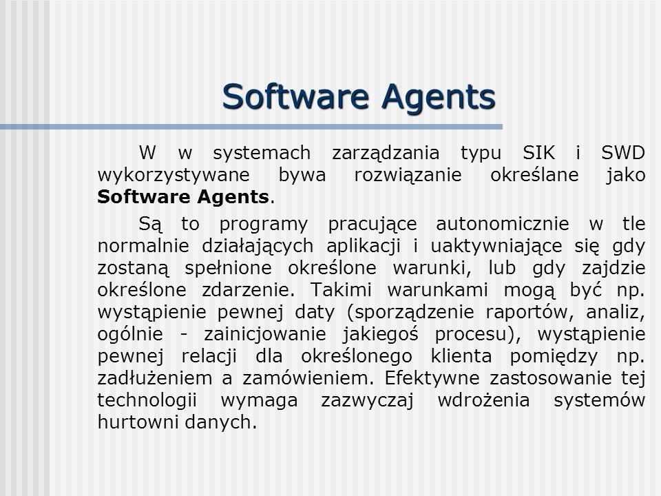 Software Agents W w systemach zarządzania typu SIK i SWD wykorzystywane bywa rozwiązanie określane jako Software Agents. Są to programy pracujące auto