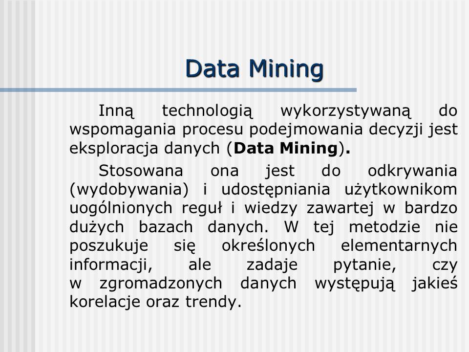 Data Mining Inną technologią wykorzystywaną do wspomagania procesu podejmowania decyzji jest eksploracja danych (Data Mining). Stosowana ona jest do o
