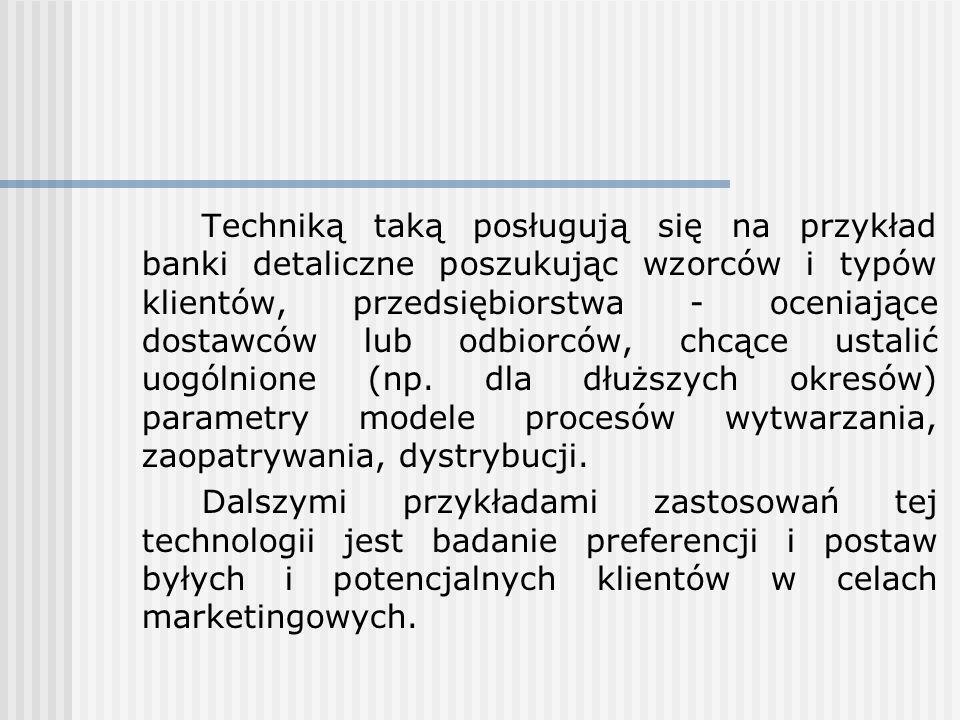 Techniką taką posługują się na przykład banki detaliczne poszukując wzorców i typów klientów, przedsiębiorstwa - oceniające dostawców lub odbiorców, c