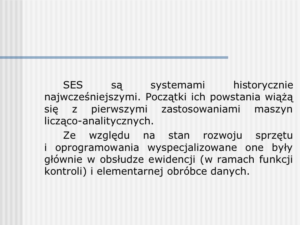 SES są systemami historycznie najwcześniejszymi. Początki ich powstania wiążą się z pierwszymi zastosowaniami maszyn licząco-analitycznych. Ze względu