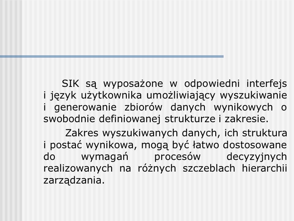 SIK są wyposażone w odpowiedni interfejs i język użytkownika umożliwiający wyszukiwanie i generowanie zbiorów danych wynikowych o swobodnie definiowan