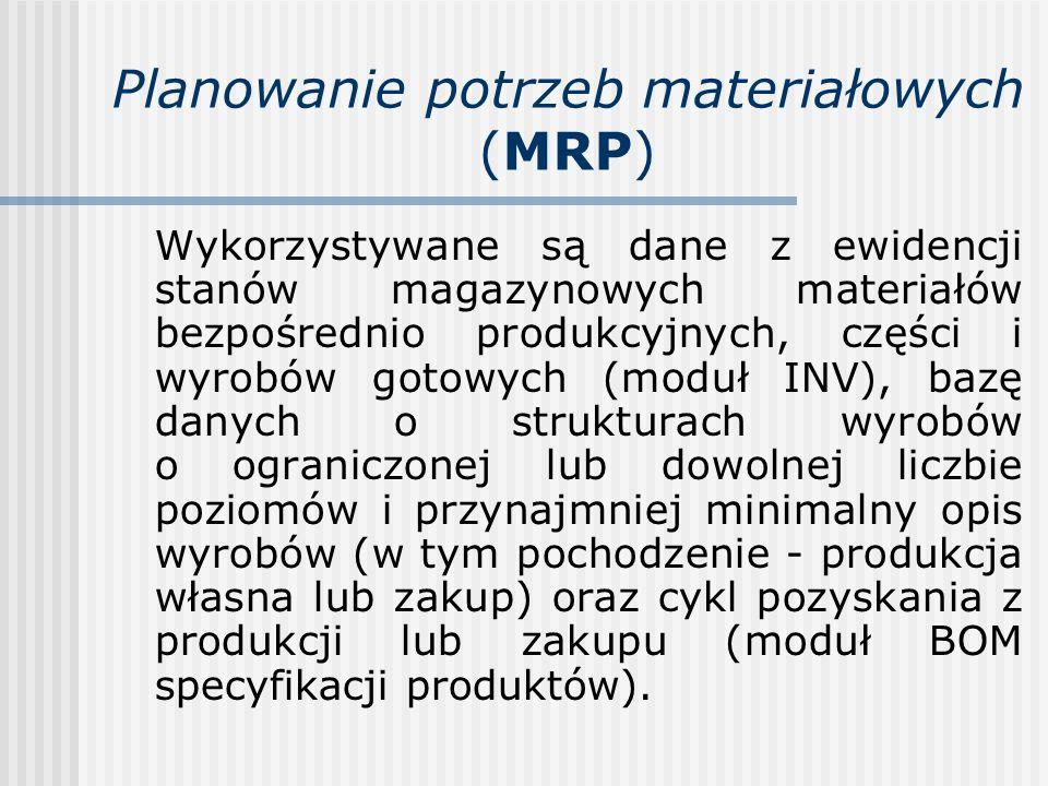 Planowanie potrzeb materiałowych (MRP) Wykorzystywane są dane z ewidencji stanów magazynowych materiałów bezpośrednio produkcyjnych, części i wyrobów