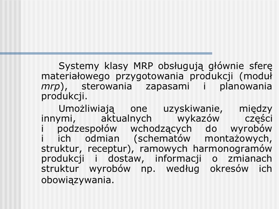 Systemy klasy MRP obsługują głównie sferę materiałowego przygotowania produkcji (moduł mrp), sterowania zapasami i planowania produkcji. Umożliwiają o