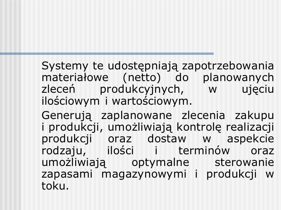 Systemy te udostępniają zapotrzebowania materiałowe (netto) do planowanych zleceń produkcyjnych, w ujęciu ilościowym i wartościowym. Generują zaplanow