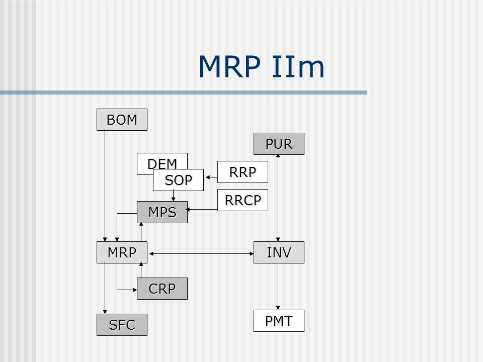 MRP IIm BOM MRPINV PUR MPS CRP SFC DEM SOP RRP RRCP PMT